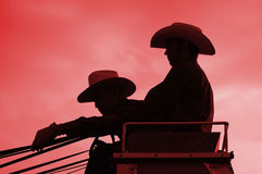 Stagecoach riders. 2 men riding a stagecoach Royalty Free Stock Photo