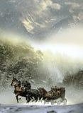 Stagecoach sob a tempestade ilustração royalty free