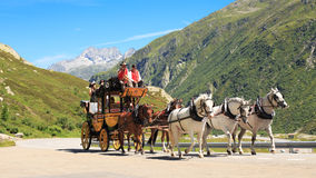 Stagecoach at St. Gotthard Alpine Pass Royalty Free Stock Photo