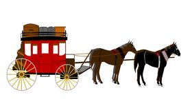 Stagecoach. With team of horses ready to roll out Stock Photo