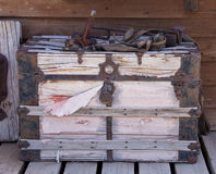 Stagecoach travel trunk. Vintage wooden stagecoach travel trunk Royalty Free Stock Image