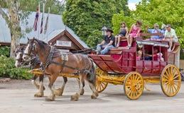 Stagecoach velho dentro na porta de Echuca. Imagens de Stock
