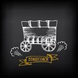 Stagecoach, zakrywający furgon Nakreślenie wektorowy projekt royalty ilustracja