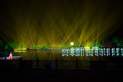 Impressions on the west lake Lotus Flower Fan - Around-china - Night with lasers and led lights stock images