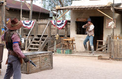 Staged Gunfight at Goldfield Ghost Town Royalty Free Stock Photo