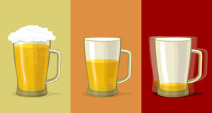 Stages  alcohol intoxication. Mug of beer. Royalty Free Stock Images