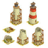 Stages of construction brick lighthouse. Vector Royalty Free Stock Images