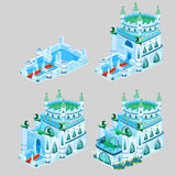Stages of construction ice Kingdom, four icons Royalty Free Stock Image