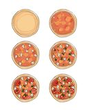 Stages of cooking pizza, sketch for your design Royalty Free Stock Photos