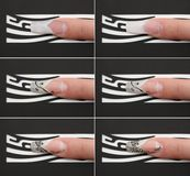 Stages of creating beautiful fingernail Royalty Free Stock Photography