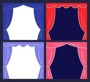 Stages with Curtains. Presentation or Announcement Design. Vector Illustration royalty free illustration