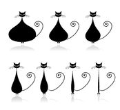 Stages of diet, funny black cat for your design stock illustration
