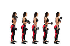 Stages of execution on a bicep. With dumbbells, beautiful young woman, isolated white background stock photos