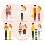 Stages of family life concept poster. Vector cartoon people characters in flat style design. First date, wedding. Pregnancy, newborn baby, happy parents Royalty Free Stock Photos