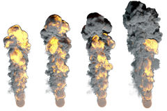 Stages of fiery explosion.Isolated on white background. 3D rendering illustration Stock Image