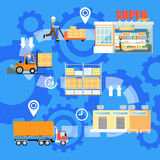 Stages of goods shipping infographics stock illustration