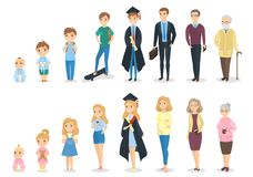 Stages of growth. From baby to senior stock illustration