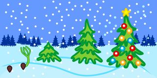 Stages of growth of spruce from seed to Christmas tree with toys. New Year`s landscape. Stages of growth of spruce from seed to Christmas tree with toys royalty free illustration