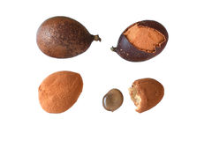 Stages of guapaque fruit on white background Royalty Free Stock Photography