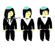 Stages of Jewish boy haircut on opshernish. Vector illustration on isolated background. Royalty Free Stock Images