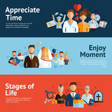 Stages of life concept banners set Stock Images
