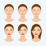 Stages of the makeup on the womans face. Beauty makeup girl portrait, vector illustration Stock Images