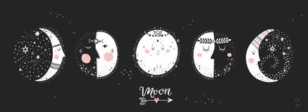 5 stages of the moon. Moon phases, characters image on black background. Hand drawn vector illustration of cycle from new to full moon.Vector illustration Stock Image