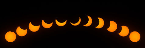 Stages of Partial Solar Eclipse on August 21, 2017 Royalty Free Stock Image