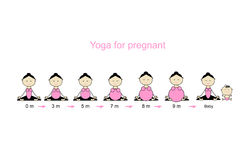 Stages of pregnancy, woman in lotus pose for your design Royalty Free Stock Image