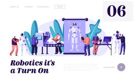 Stages of Robots Creation. Engineering Robotics Process in Science Laboratory with Hi-Tech Equipment. Artificial Intelligence stock illustration