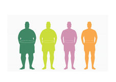 Stages of silhuette man on the way to lose weight,Vector illustrations Stock Photo