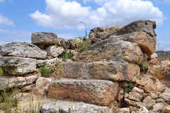 Stages in sky. Ruins of ancient settlements,  old stepstones and sky Stock Photo