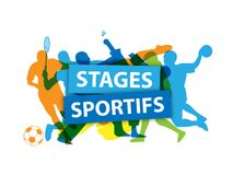 `STAGES SPORTIFS` French language banner with silhouettes taking part in various sports stock illustration
