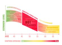Stages of Menopause Infographic. Stages and symptoms of menopause. Estrogen level average percentage from the birth to the age of eighty years. Medical Royalty Free Stock Photography