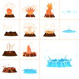 Stages of Volcanic Eruption and Water Splash Set. Stages of volcanic eruption and water splash isolated on white background. Steaming, hot burning lava Stock Photos