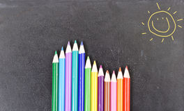 Staggered Colored Pencils Stock Image