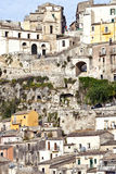 Staggered old houses of historic Sicilian town of Ragusa Royalty Free Stock Image