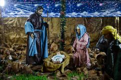 Staging of the birth of Jesus royalty free stock photos
