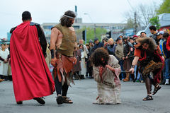 Staging of Jesus road on the mountain Calavary Royalty Free Stock Images