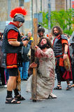 Staging of Jesus road on the mountain Calavary Royalty Free Stock Image