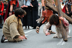 Staging of Jesus road on the mountain Calavary Stock Photo
