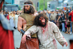 Staging of Jesus road on the mountain Calavary Royalty Free Stock Photos