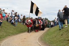 Proud entrance of knights on the battlefield Stock Photography