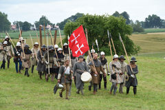 Light medieval infantry on the way to the battlefield Royalty Free Stock Photos