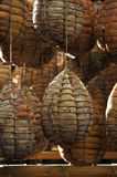 Stagionatura di culatello. Some culatelli hanging for ripening stock photography