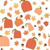 Stagione di caduta dell'ornamento delle foglie e delle zucche di Autumn Seamless Pattern Background Yellow Fotografie Stock Libere da Diritti