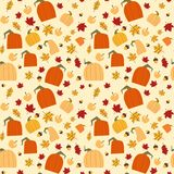 Stagione di caduta dell'ornamento delle foglie e delle zucche della quercia di Autumn Seamless Pattern Background Yellow Immagine Stock Libera da Diritti