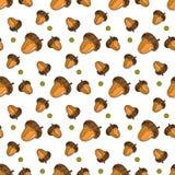 Stagione di caduta dell'ornamento delle ghiande di Autumn Seamless Pattern Background Oak Immagini Stock Libere da Diritti