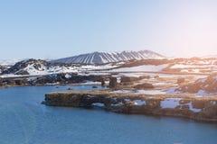 Stagione invernale del vulcano dell'Islanda bella Fotografia Stock