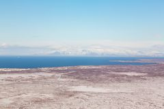 Stagione invernale dell'Islanda di vista aerea Fotografie Stock